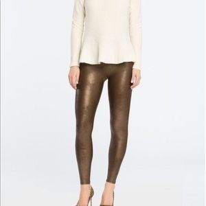 Spanx Brown Faux Leather Leggings